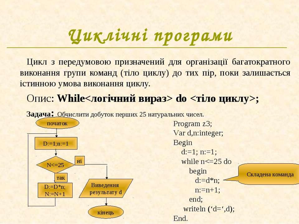 Циклічні програми Цикл з передумовою призначений для організації багатократно...