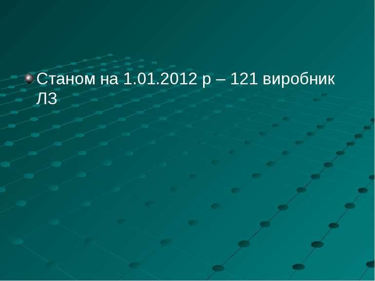 Станом на 1.01.2012 р – 121 виробник ЛЗ