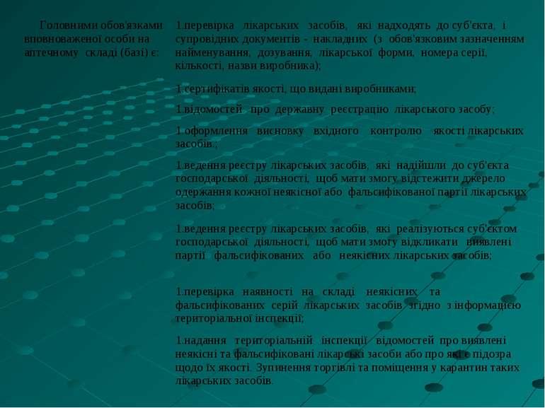 Головними обов'язками вповноваженої особи на аптечному складi (базi) є: перев...