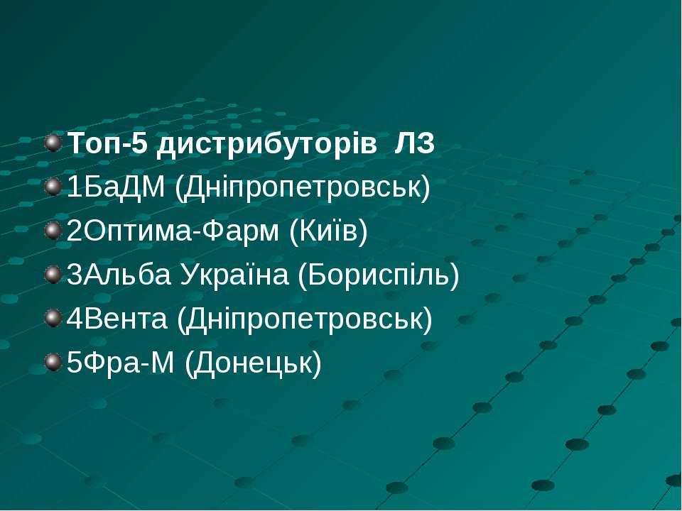 Топ-5 дистрибуторів ЛЗ 1БаДМ (Дніпропетровськ) 2Оптима-Фарм (Київ) 3Альба Укр...