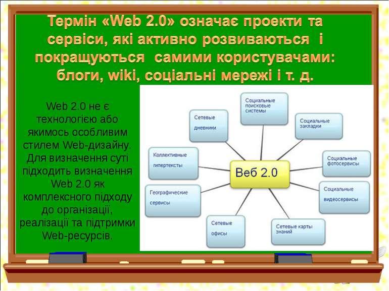 Web 2.0 не є технологією або якимось особливим стилем Web-дизайну. Для визнач...