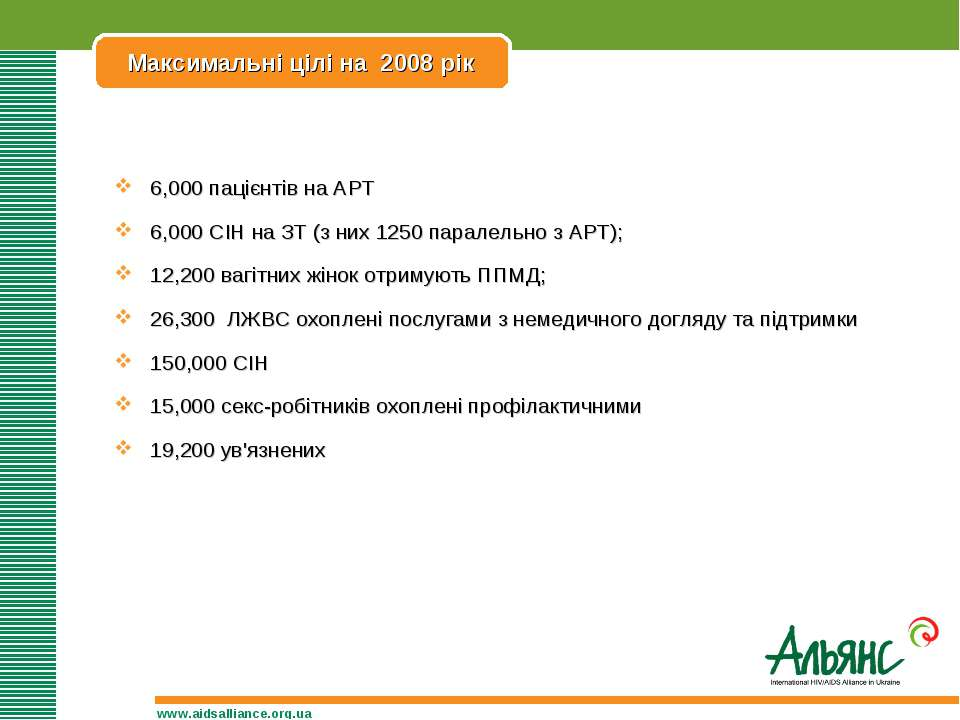 Максимальні цілі на 2008 рік www.aidsalliance.org.ua 6,000 пацієнтів на АРТ 6...