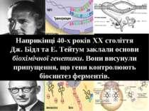 Наприкінці 40-х років ХХ століття Дж. Бідл та Е. Тейтум заклали основи біохім...