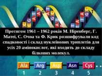 Протягом 1961 – 1962 років М. Ніренберг, Г. Матеі, С. Очоа та Ф. Крик розшифр...