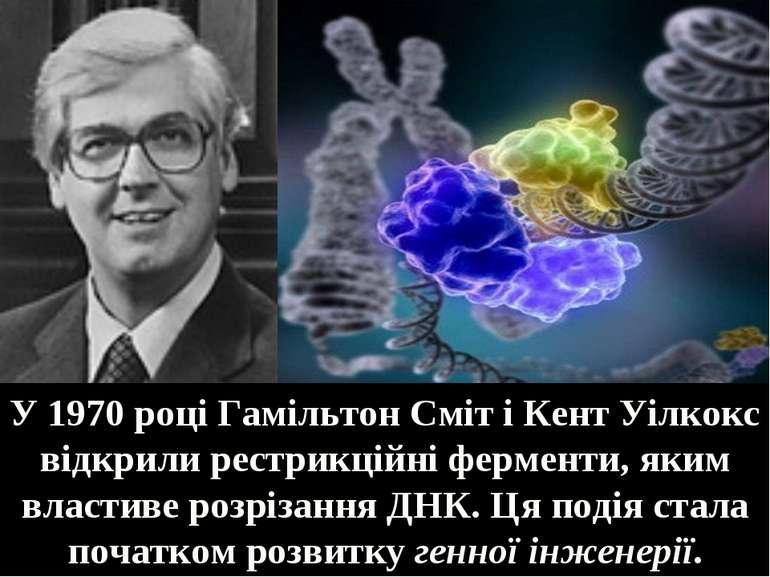 У 1970 році Гамільтон Сміт і Кент Уілкокс відкрили рестрикційні ферменти, яки...