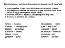 Дослідження змістової (словесно-механічної) пам'яті Прослухайте 10 пар слів, ...