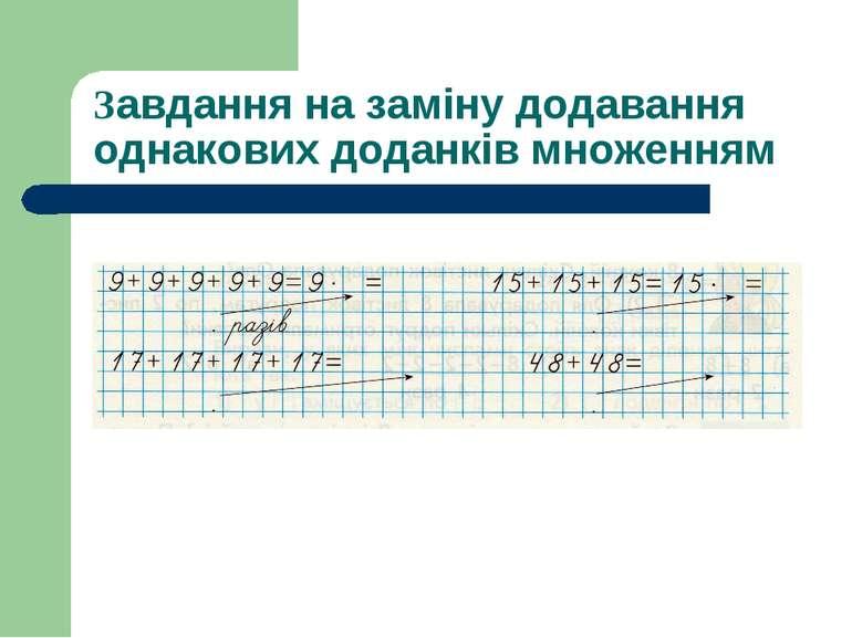 Завдання на заміну додавання однакових доданків множенням