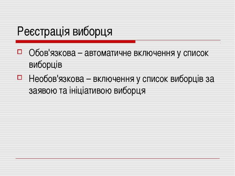Реєстрація виборця Обов'язкова – автоматичне включення у список виборців Необ...