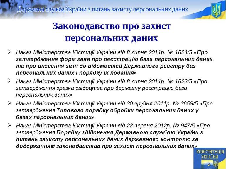 Законодавство про захист персональних даних Наказ Міністерства Юстиції Україн...