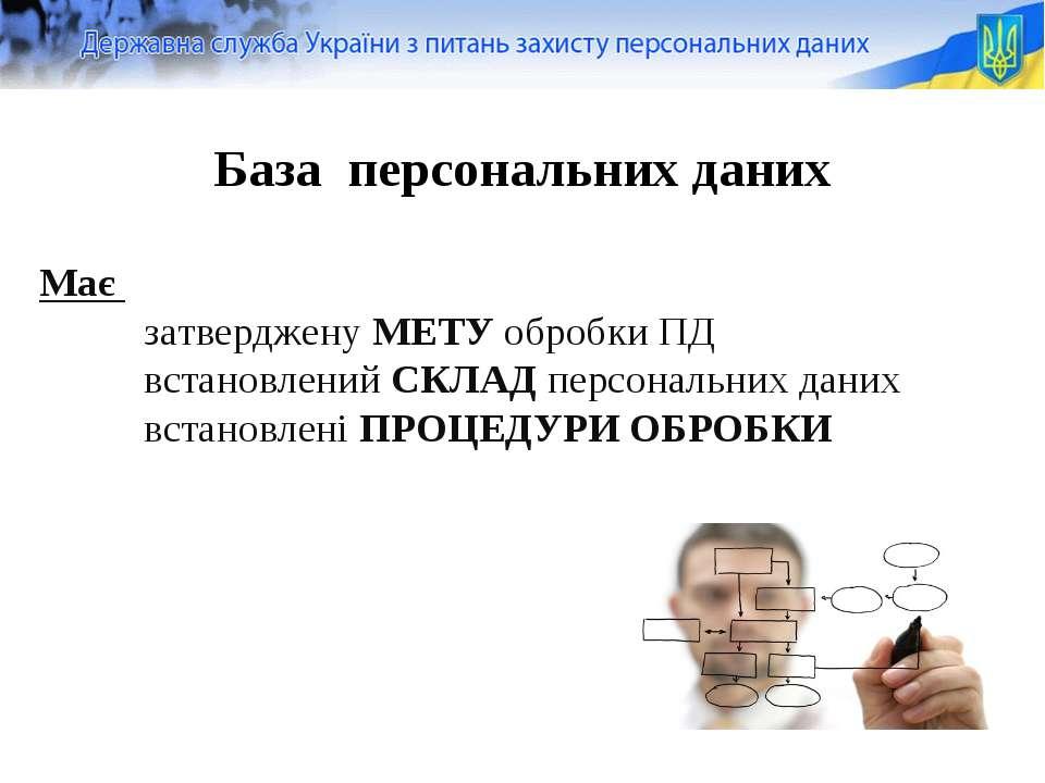 Має затверджену МЕТУ обробки ПД встановлений СКЛАД персональних даних встанов...