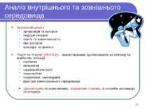 * Аналіз внутрішнього та зовнішнього середовища Внутрішній аналіз: організаці...