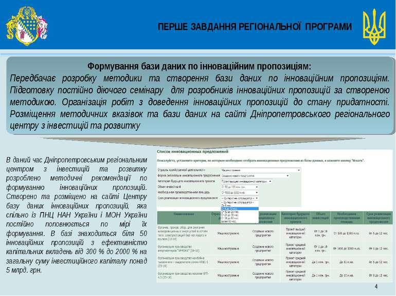 ПЕРШЕ ЗАВДАННЯ РЕГІОНАЛЬНОЇ ПРОГРАМИ 4 Формування бази даних по інноваційним ...