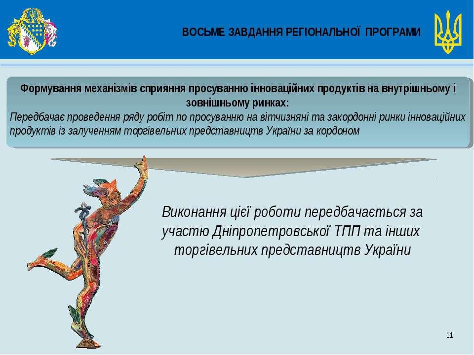 ВОСЬМЕ ЗАВДАННЯ РЕГІОНАЛЬНОЇ ПРОГРАМИ 11 Формування механізмів сприяння просу...