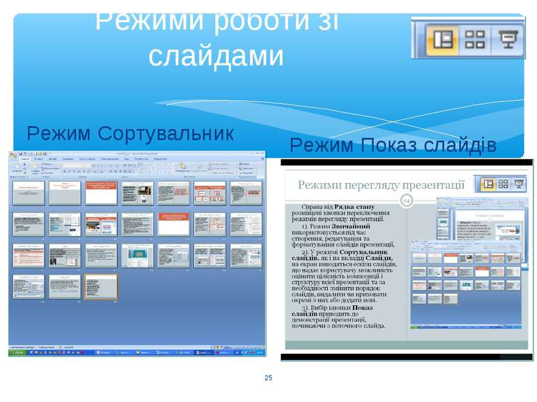 Режими роботи зі слайдами Режим Сортувальник Режим Показ слайдів *