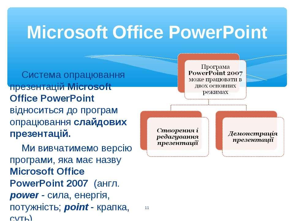 Microsoft Office PowerPoint * Система опрацювання презентацій Microsoft Offic...