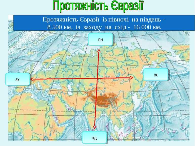 Протяжність Євразії із півночі на південь - 8 500 км, із заходу на схід - 16 ...