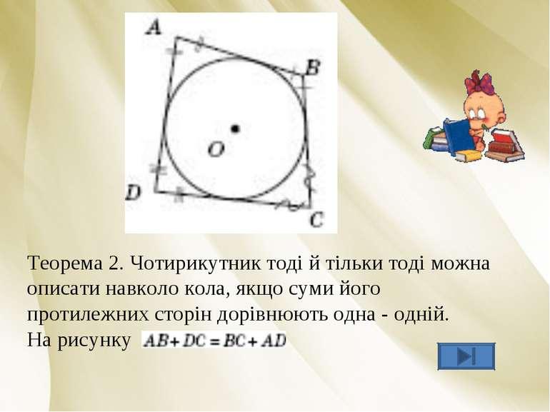 Теорема 2. Чотирикутник тоді й тільки тоді можна описати навколо кола, якщо с...