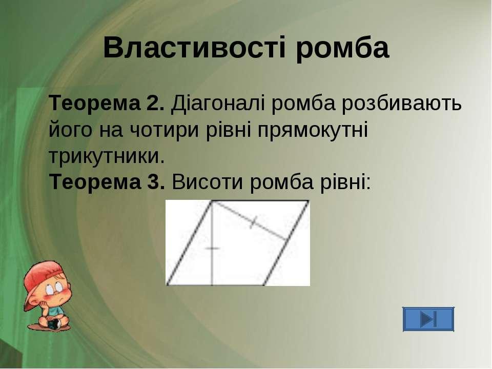 Властивості ромба Теорема 2. Діагоналі ромба розбивають його на чотири рівні ...