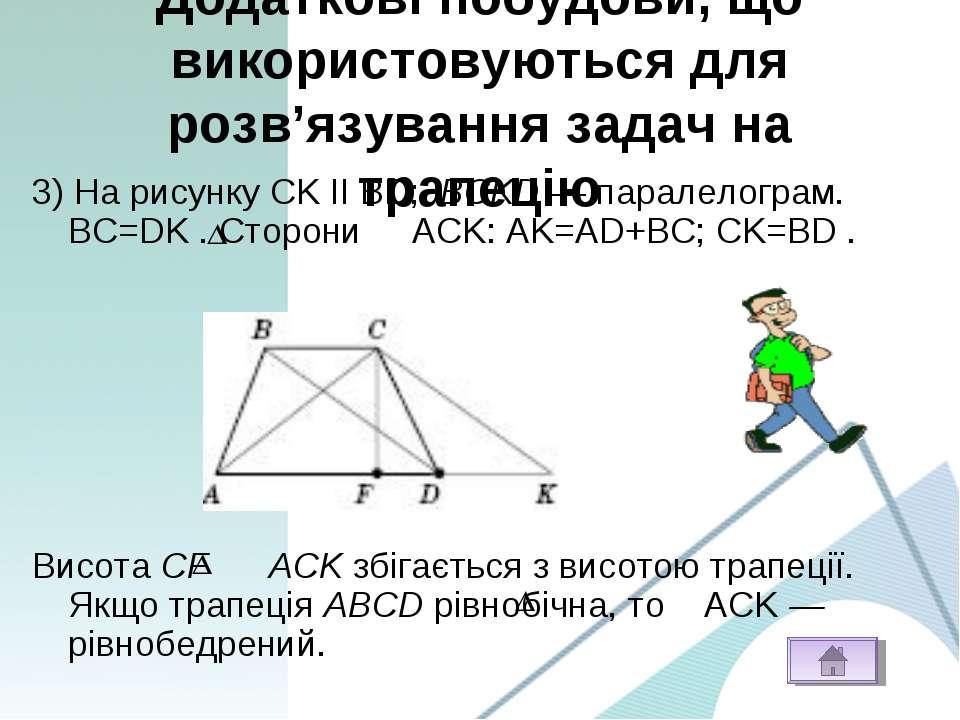 Додаткові побудови, що використовуються для розв'язування задач на трапецію 3...