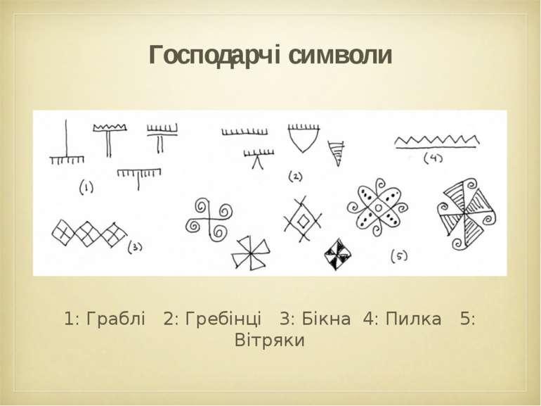 Господарчі символи 1: Граблі 2: Гребінці 3: Бікна 4: Пилка 5: Вітряки