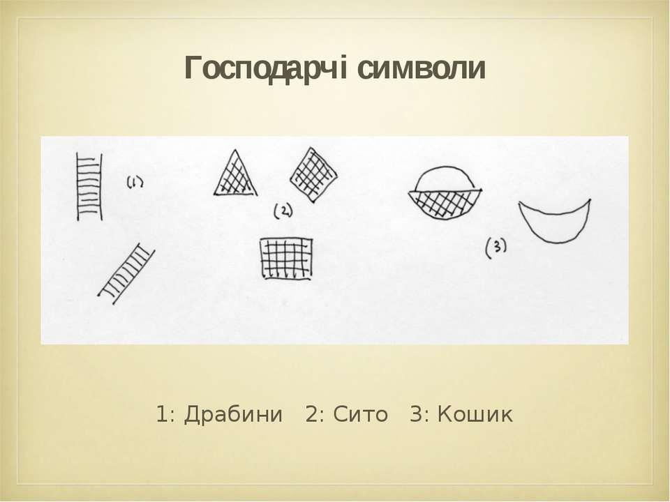 Господарчі символи 1: Драбини 2: Сито 3: Кошик