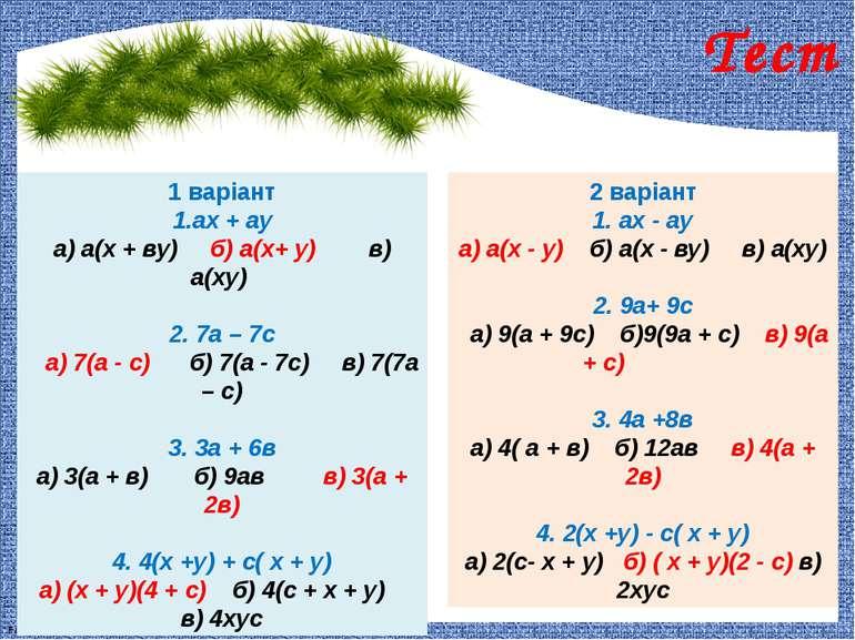 1 варіант 1.ах + ау а) а(х + ву) б) а(х+ у) в) а(ху) 2. 7а – 7с а) 7(а - с) б...
