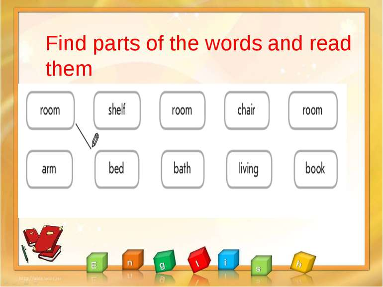 Find parts of the words and read them