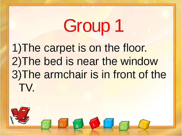 Group 1 The carpet is on the floor. The bed is near the window The armchair i...
