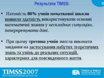 Результати TIMSS: Натомість 80% учнів початкової школи виявили здатність вико...