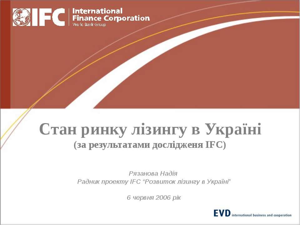 Стан ринку лізингу в Україні (за результатами дослідженя IFC) Рязанова Надія ...