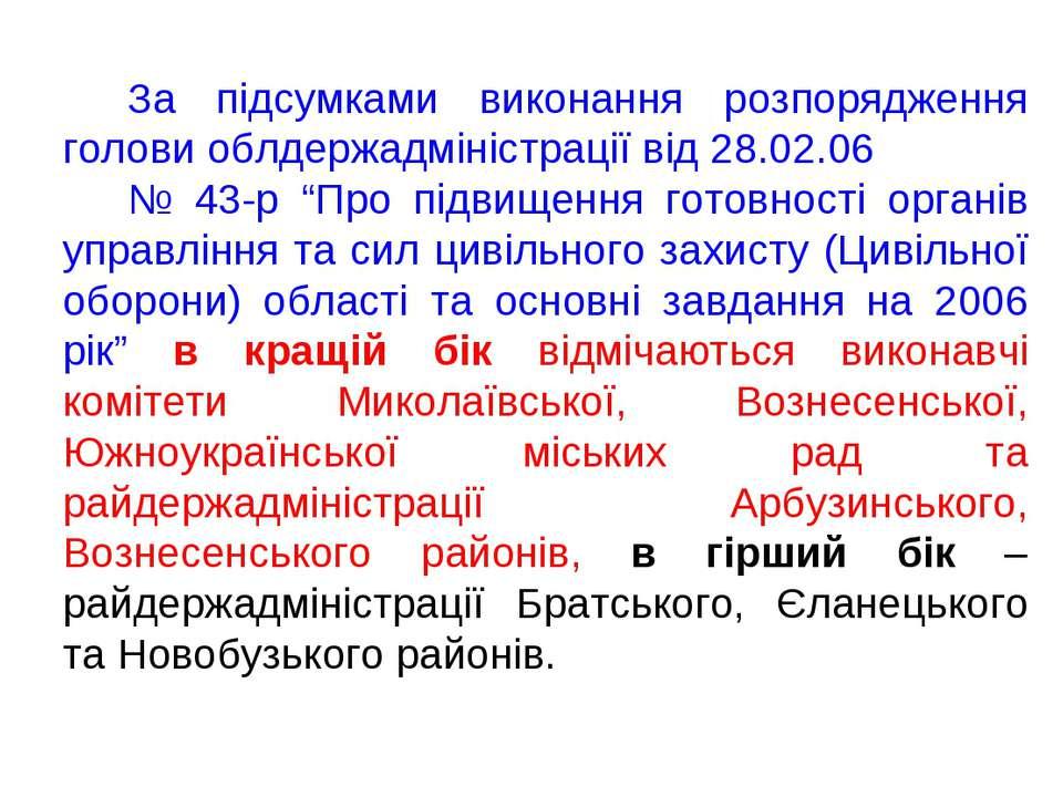 За підсумками виконання розпорядження голови облдержадміністрації від 28.02.0...