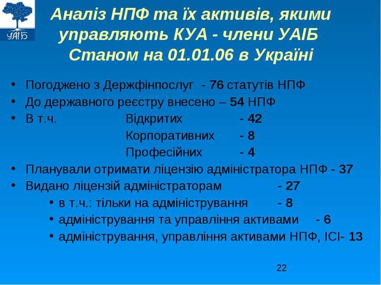 Аналіз НПФ та їх активів, якими управляють КУА - члени УАІБ Станом на 01.01.0...