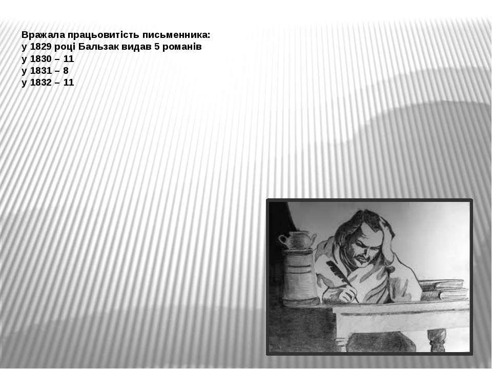 Вражала працьовитість письменника: у 1829 році Бальзак видав 5 романів у 1830...