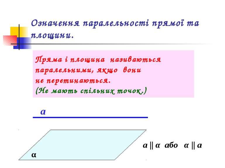 Означення паралельності прямої та площини. Пряма і площина називаються парале...