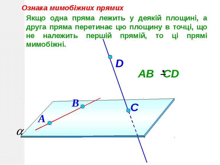 Якщо одна пряма лежить у деякій площині, а друга пряма перетинає цю площину в...