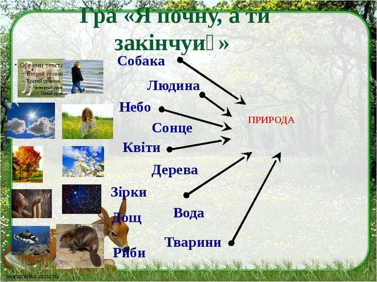 Гра «Я почну, а ти закінчуи » Собака Людина Небо Сонце Квіти Дерева Риби Зірк...