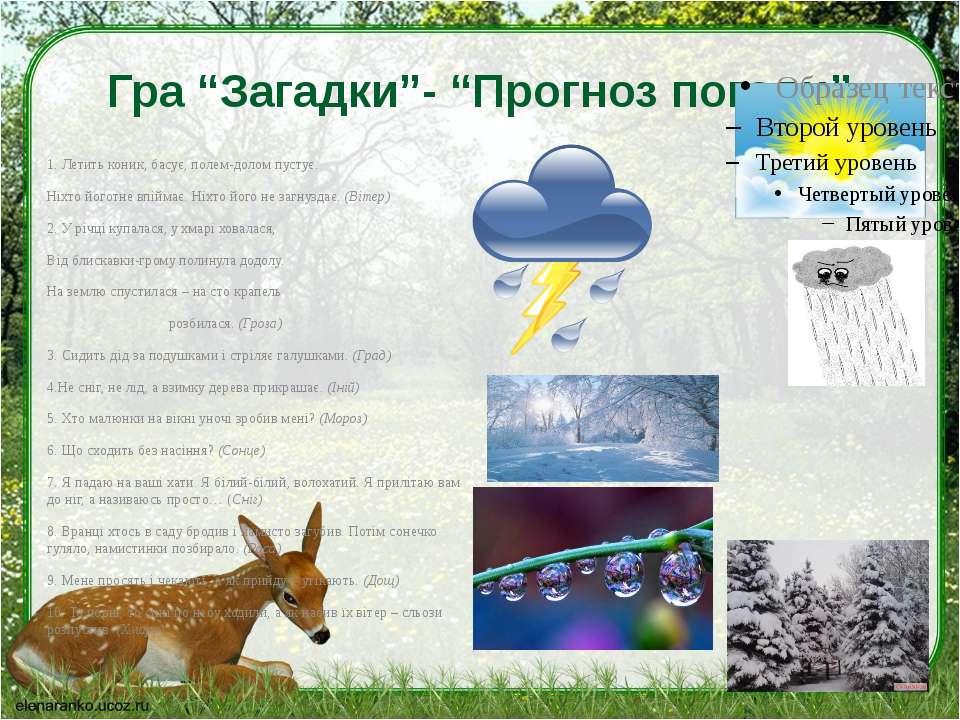 "Гра ""Загадки""- ""Прогноз погоди"" 1. Летить коник, басує, полем-долом пустує. Н..."