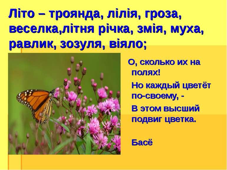Літо – троянда, лілія, гроза, веселка,літня річка, змія, муха, равлик, зозуля...