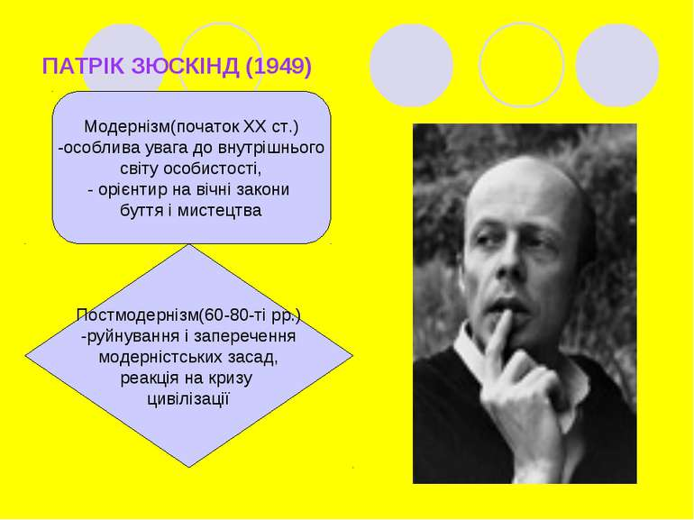 ПАТРІК ЗЮСКІНД (1949) Модернізм(початок ХХ ст.) -особлива увага до внутрішньо...