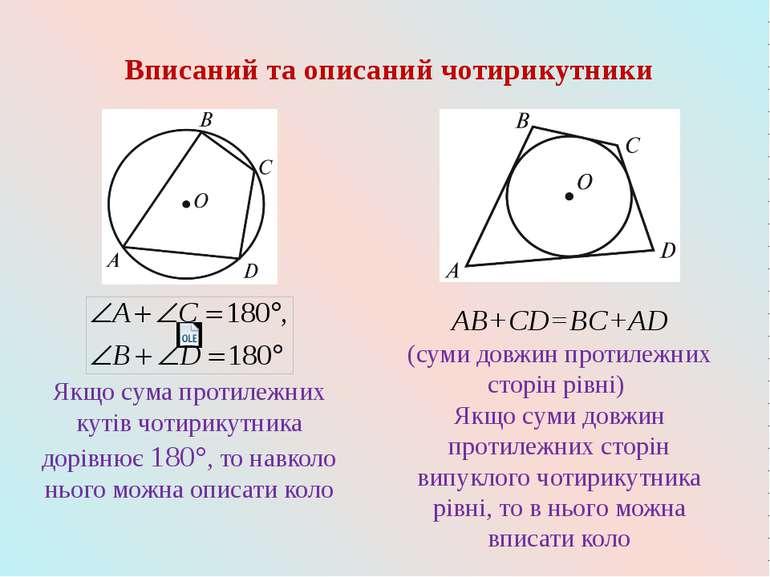 Вписаний та описаний чотирикутники AB+CD=BC+AD (суми довжин протилежних сторі...