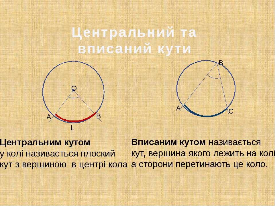 Центральний та вписаний кути Центральним кутом у колі називається плоский кут...