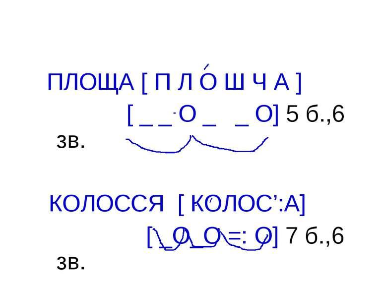 ПЛОЩА [ П Л О Ш Ч А ] [ _ _ О _ _ О] 5 б.,6 зв. КОЛОССЯ [ КОЛОС':А] [ _О_О =:...