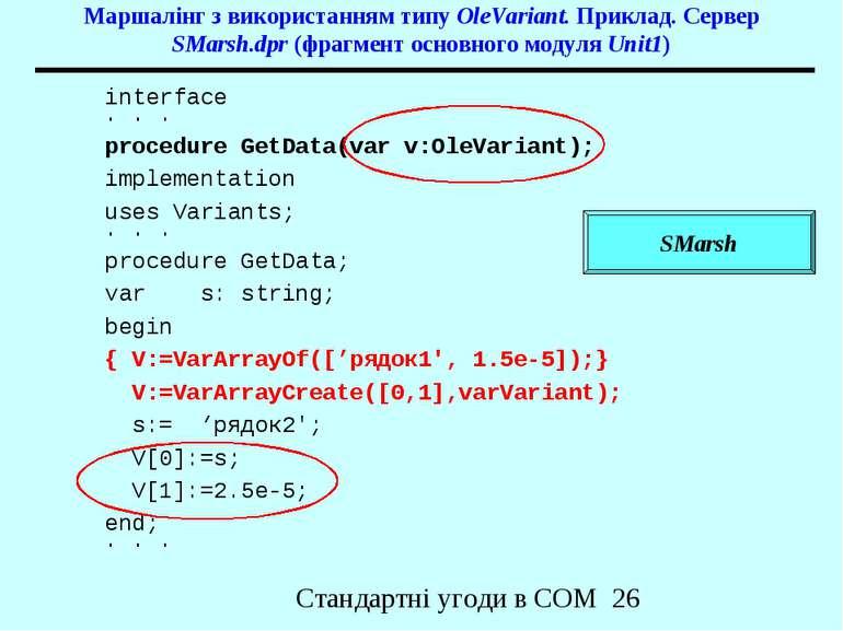 Маршалінг з використанням типу OleVariant. Приклад. Сервер SMarsh.dpr (фрагме...