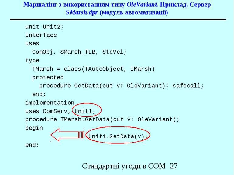 Маршалінг з використанням типу OleVariant. Приклад. Сервер SMarsh.dpr (модуль...