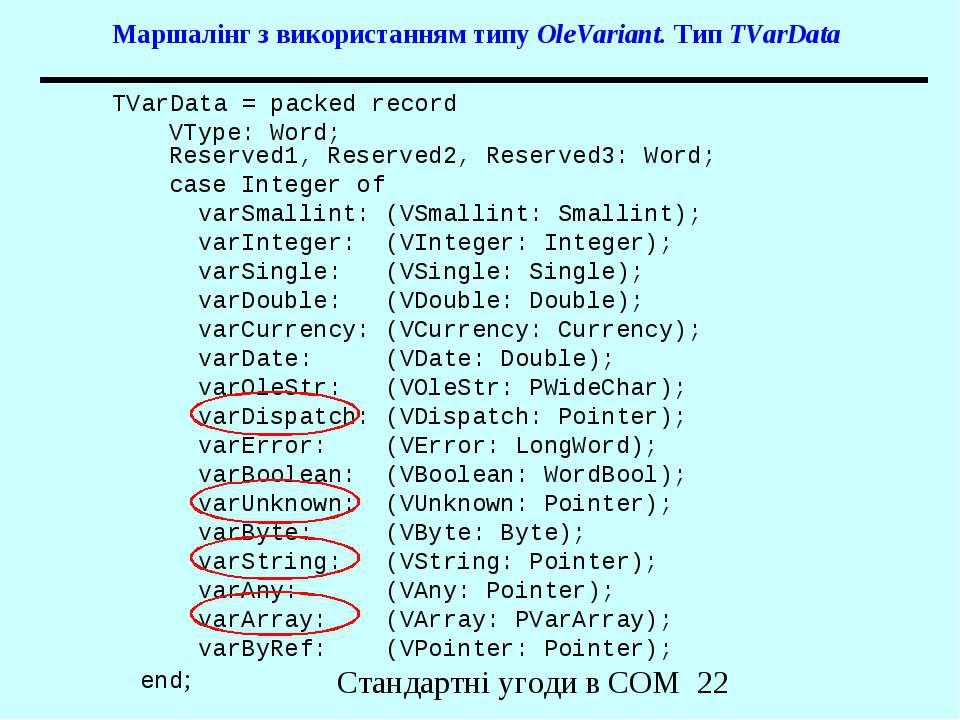 Маршалінг з використанням типу OleVariant. Тип TVarData TVarData = packed rec...