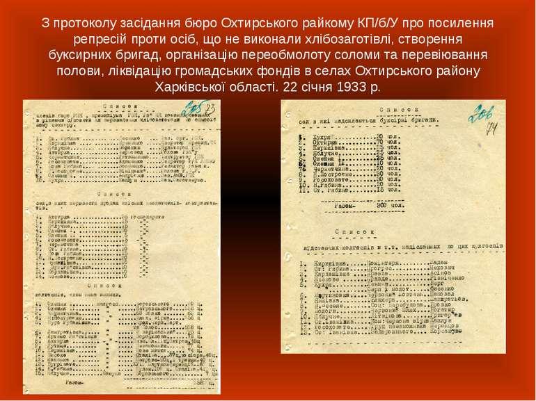 З протоколу засідання бюро Охтирського райкому КП/б/У про посилення репресій ...