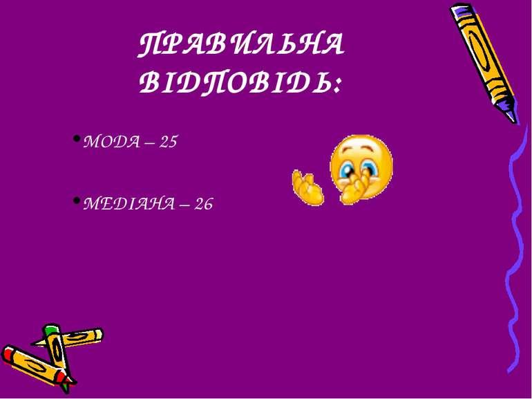 ПРАВИЛЬНА ВІДПОВІДЬ: МОДА – 25 МЕДІАНА – 26