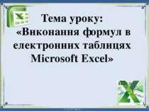 Тема уроку: «Виконання формул в електронних таблицях Microsoft Excel»