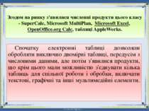 Згодом на ринку з'явилися численні продукти цього класу - SuperCalc, Microsof...