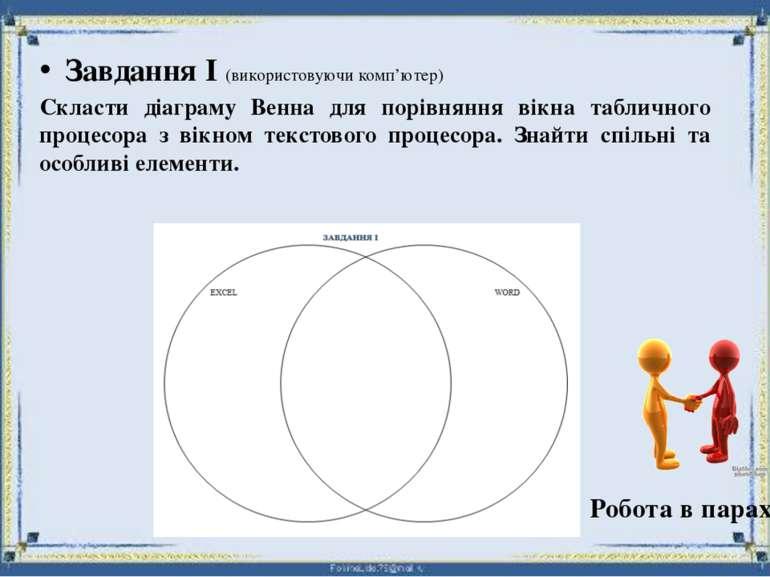 Робота в парах Завдання І (використовуючи комп'ютер) Скласти діаграму Венна д...